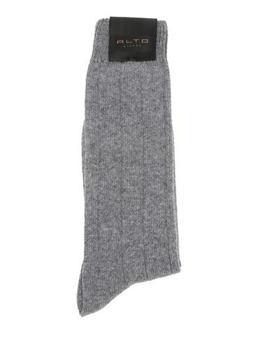Alto Socks Alto Socks  Çizgi Dokulu Erkek Yün Çorap 101560321 Gri